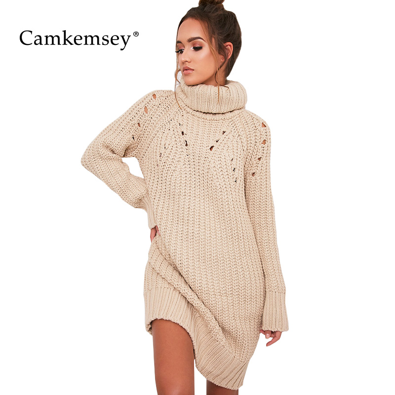 CamKemsey Winter Turtleneck Knitted Sweater Dress Women Autumn Long Sleeve Loose Knit Tunic Dress Female Pullovers