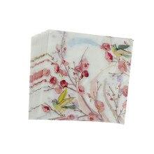20 шт. бумажные салфетки с цветочным принтом для свадьбы и вечеринки декоративная ткань декупаж Первичная салфетка из древесной массы 30*30 см