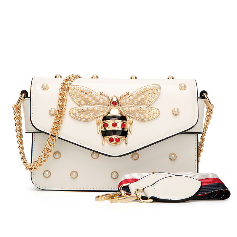 2018 abeilles Rivet cuir sacs à main petites femmes bandoulière Messenger perle chaîne sacs marques célèbres pour Bolsas Feminina Sac