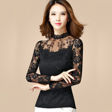 M-5XL New Womens Lace Shirt Spring Autumn 2019 Winter Fashion Dobby Embroidery Hollow-out Slim Tops Plus Velvet Shirts Female