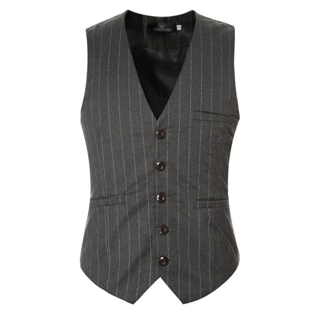 Vest For Men Classic Vests Waistcoat Formal Business Casual Wedding Stripe Vest Suits 0079