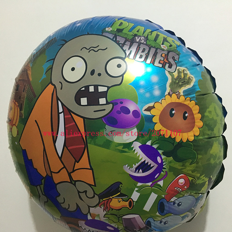 lucky 10pcslot 18 inch plants vs zombies balloon foil helium balloons for party ballon classic toys wedding decoration globos in ballons accessories from
