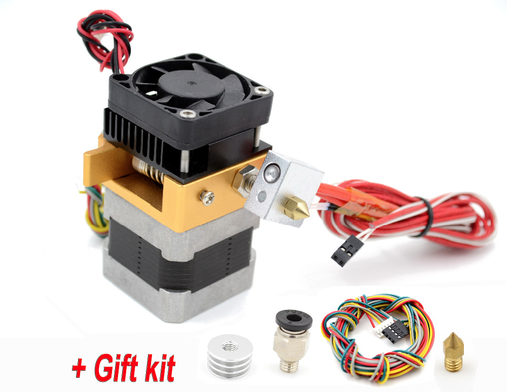 Upgraded 3D Printer MK8 Extruder Print Head J-head Hotend Nozzle 0.3mm/0.4mm/0.5mm for 1.75mm Filament with Gift Kit