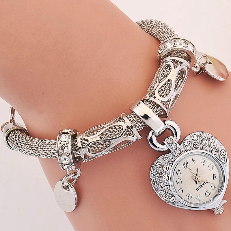Reloj de pulsera de oro y plata para mujer, de lujo y vintage. Elegante corazón, colgante, pulsera de cuerda, reloj montre femme.