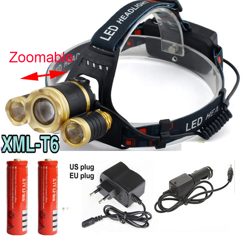 4 mode Zoomable 8000Lm 3x XML T6 LED Headlamp Rechargeable Headlight Head Torch Light Lamp 18650