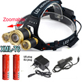 4 mode Zoomable 8000Lm 3x XML T6 LED Headlamp Rechargeable Headlight Head Torch Light Lamp+18650+charger