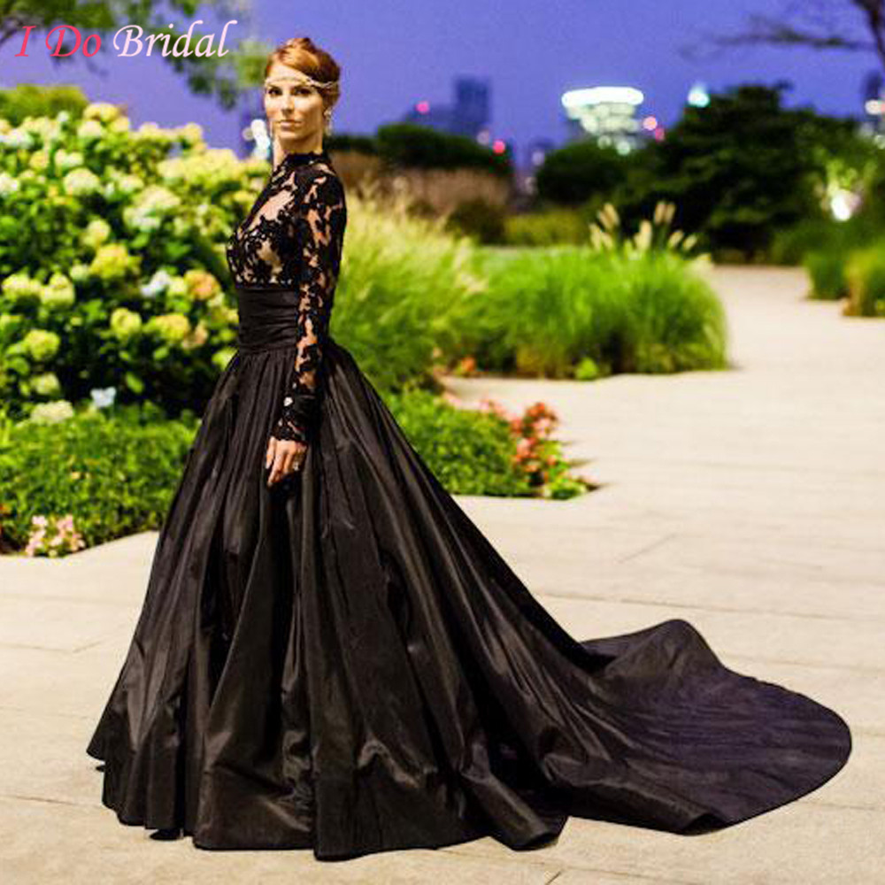 Compare Prices on Wedding Dress Long Sleeve and High Neck Black ...