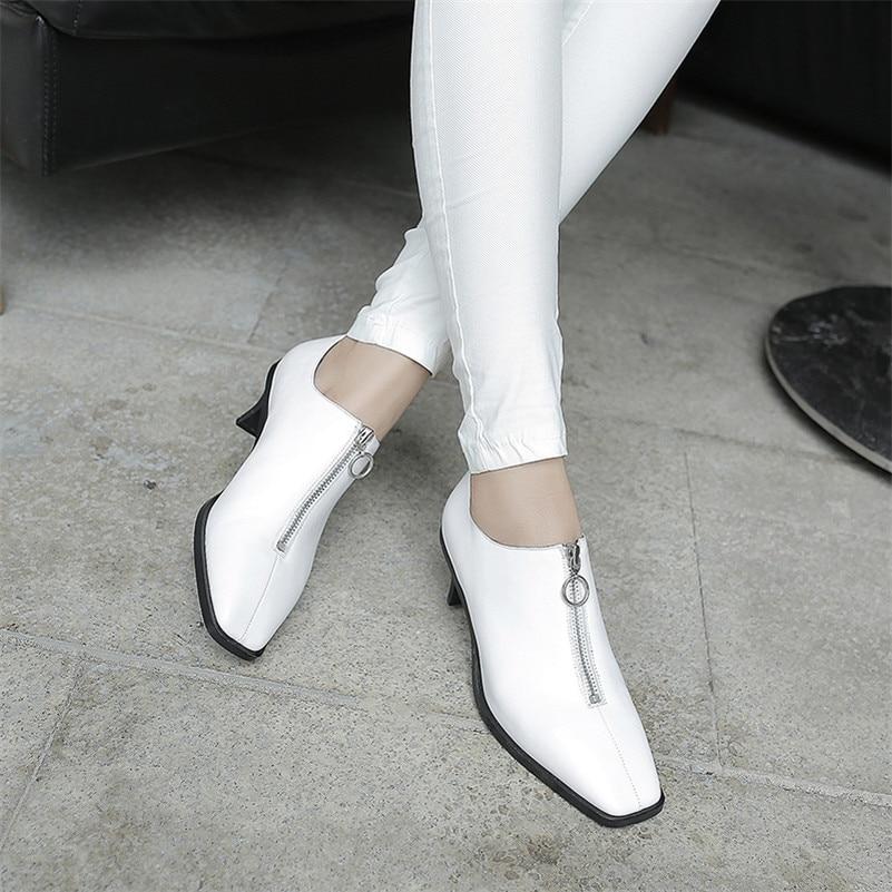 Cuero Mujer Damas Las De Negro Mujeres Zapatos Genuino Marca Bajo Oficina Negro Otoño Tacón Bombas Punta Fedonas Cremallera blanco Cuadrada Decoración wFxnftn