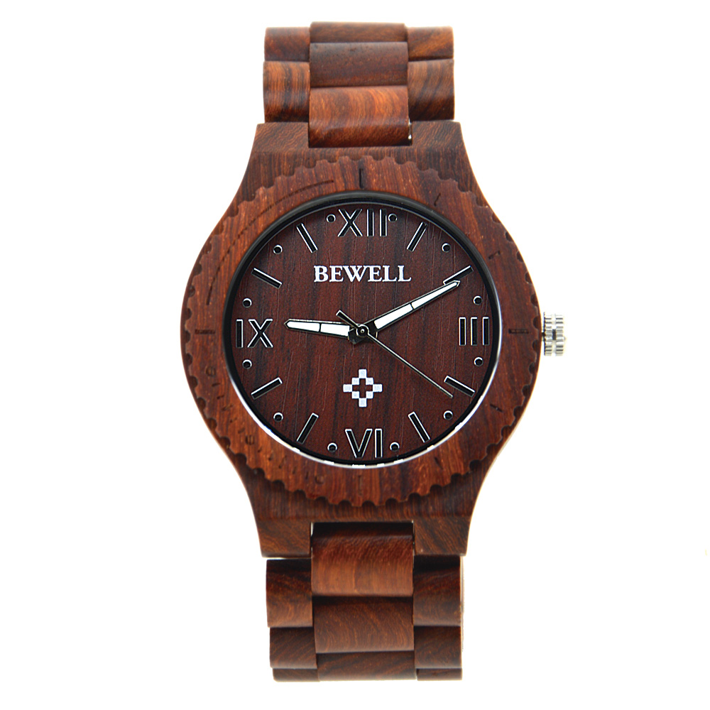 BEWELL Cheap Watches China For Man With Free Shipping Wood Men Quartz Waterproof Watch Roman Numeral Scales Dropshipping 065A men women quartz watch leather band decorative small sub dials roman numeral scales
