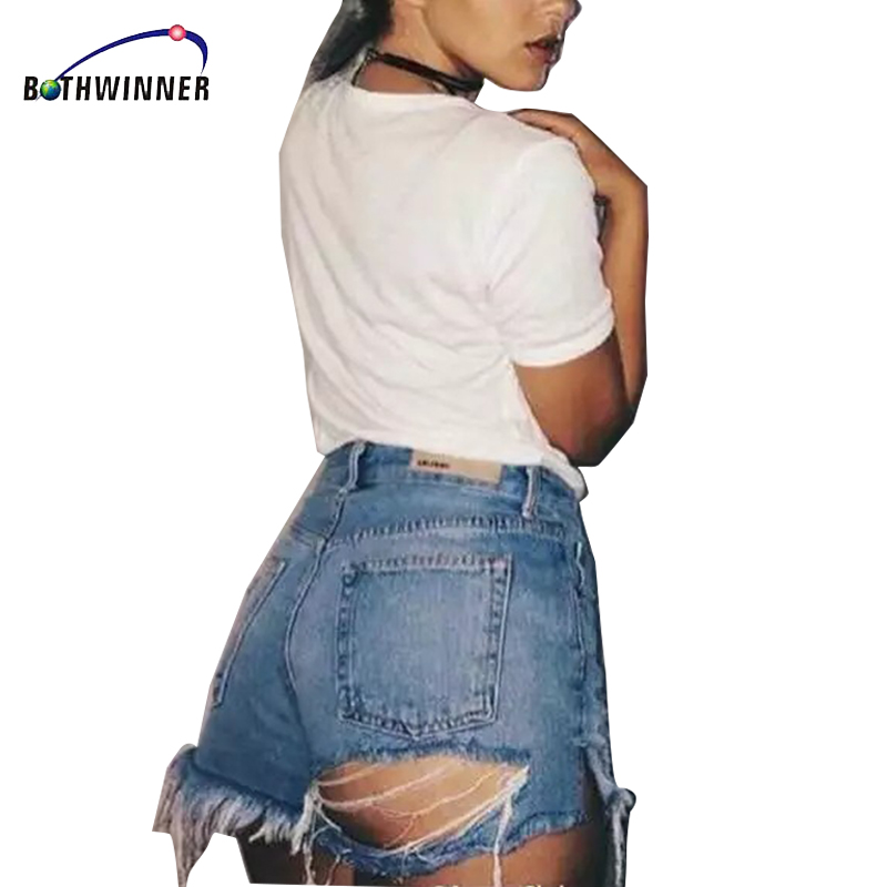 Bothwinner Women Holes Ripped  Denim Shorts Pockets Short Jeans Ladies Summer Causal Shorts Pantalones Cortos stylish denim ripped shorts for women