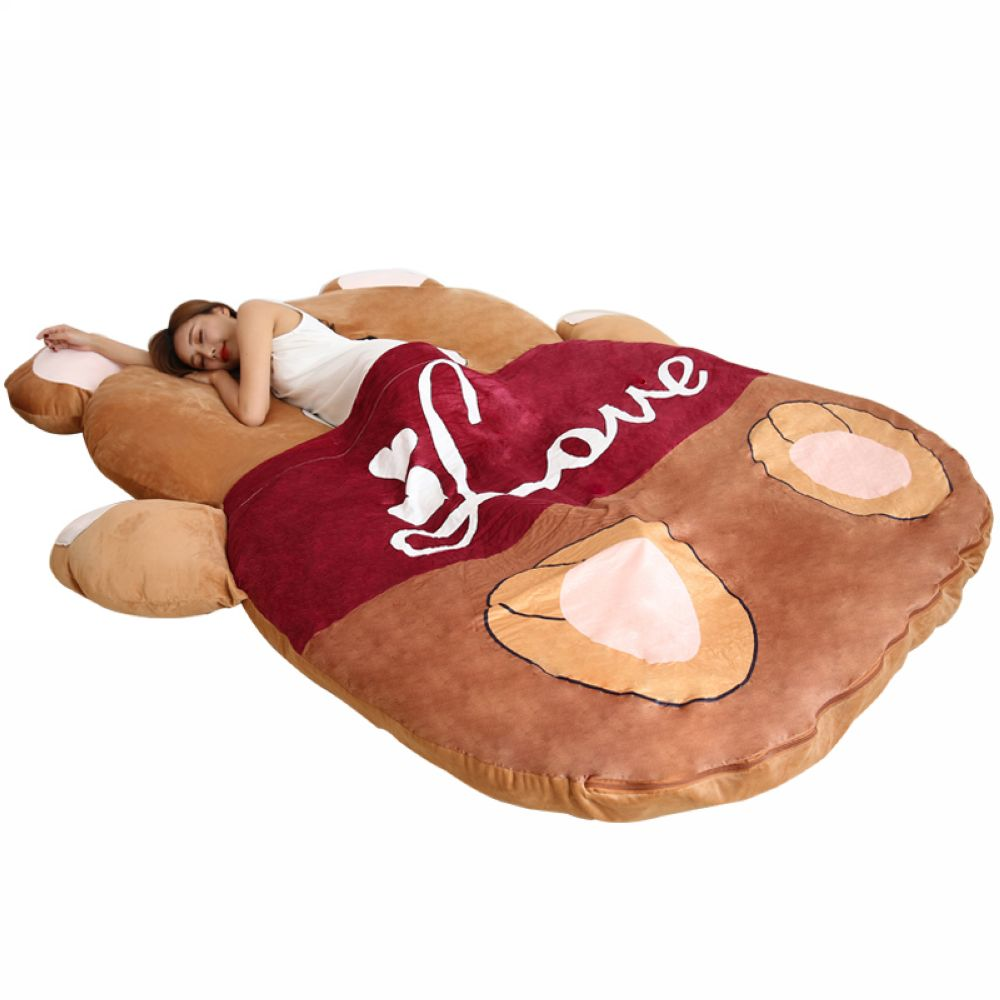 Fancytrader 2018 Giant Plush Stuffed Cartoon Love Bear Sofa Bed Sleeping Bed with Paddin ...