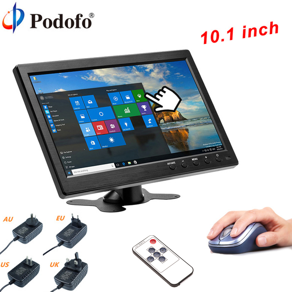 Podofo 10.1HD Car Headrest Monitor TFT LCD HD Digital Screen HDMI/VGA/AV/USB/SD Slim UV Coating PC/TV/DVD Player For Monitoring car pillow zipper cover 2x 9 hd touch screen car headrest dvd player with 32 bit game usb sd ir fm transmitter no ir headphones