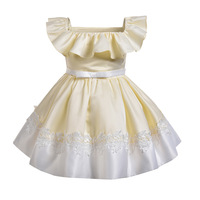 Baby girls new apricot yellow ruffled tunic lace apron dress girls party princess dresses family party costume Christmas clothes