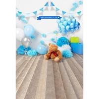 Blue Balloons Gifts flag teddy bear room Birthday Party photo backdrop Vinyl cloth Computer print newborn baby background