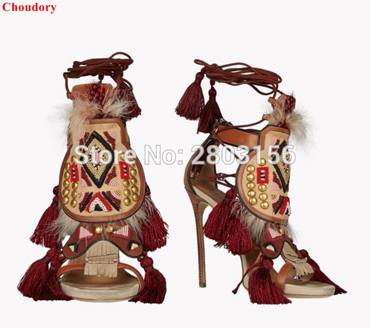 choudory newest design butterfly woman high heels sandals sweet style lace up party wedding dress shoes gladiator sandals Newest multi-color Lace Up beaded Gladiator Sandals Fringed High Heels Designer Feather Taseel Summer Sandals Shoes Woman