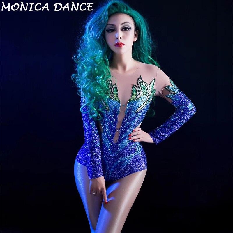 Women Stage Sparkly Rhinestones Mesh Bodysuit Women's Dance Costume Dance Show Nightclub Female Singer Wear See Through Leotard