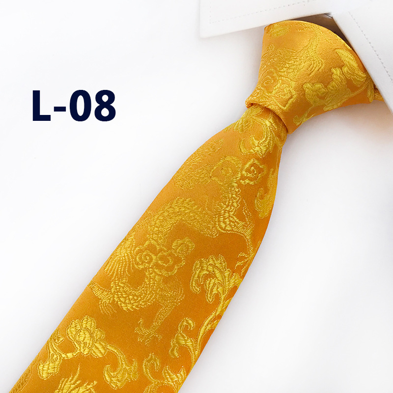 Luxury New Silk Festive Gold Chinese Dragon Pattern Wedding  Groomsman Business Tie