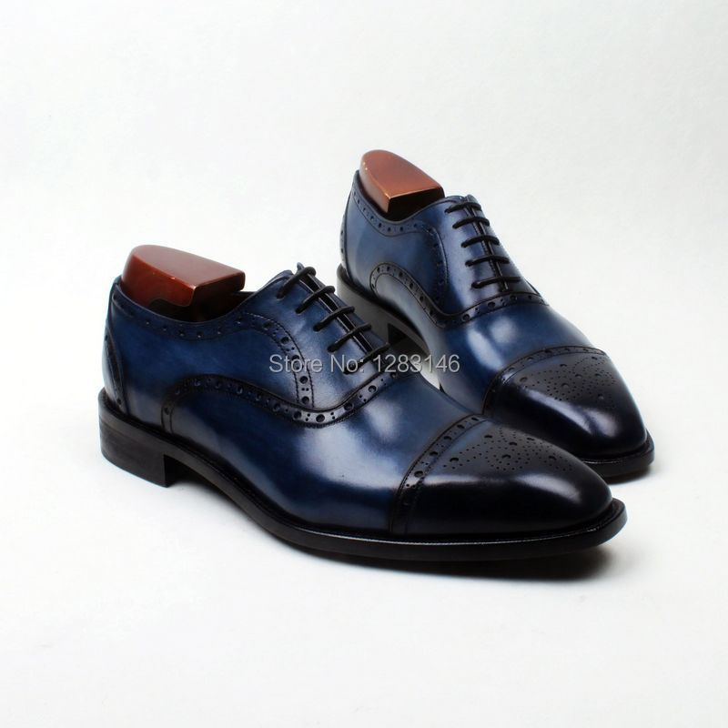 obbilly Handmade Genuine Calf Leather Breathale Outsole Oxford Navy Half Brogues Men's Clssic/Dress Mackay Craft Shoe No.ox614