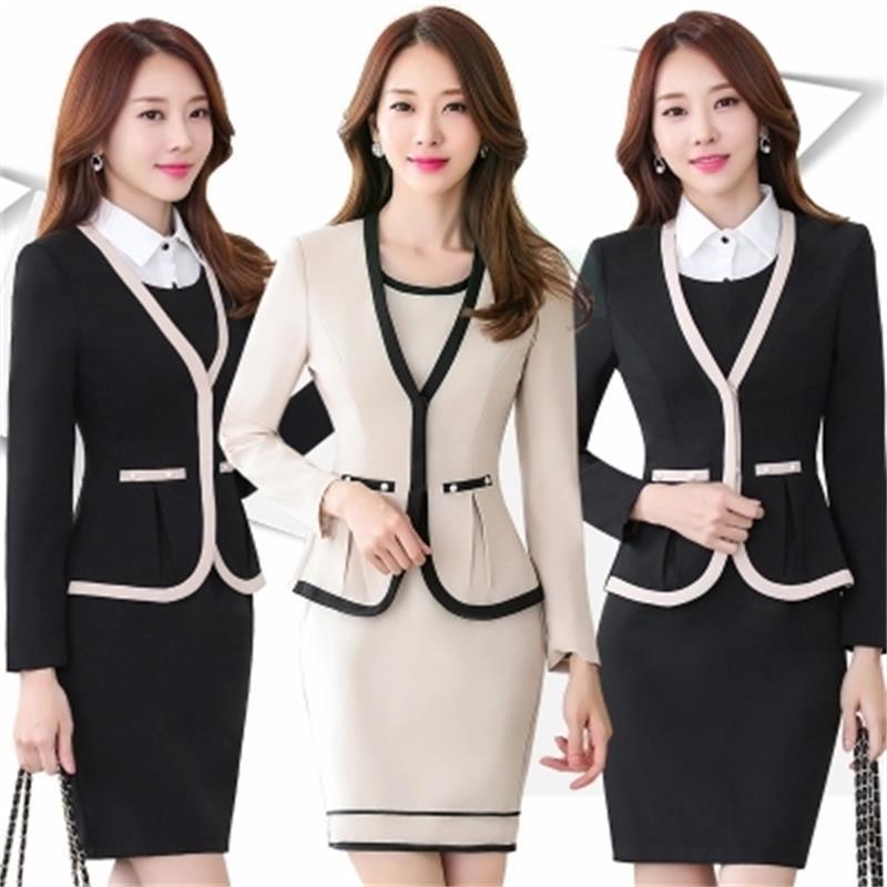 2018 Spring Autumn Hot Ladies Dress Suit For Work Full Sleeve Blazer