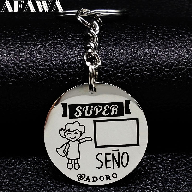 Detail Feedback Questions about 2018 Fashion Super SENO ADORO Stainless  Steel Keychain for Women Spain Teacher Round Keyring Jewelry Gift llaveros  mujer ... de1c9349cf