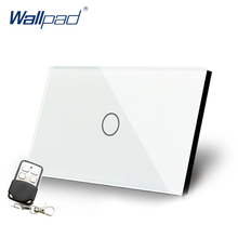 цена на Remote Dimmer Wallpad US/AU Standard Touch Switch AC 110~250V White Dimmerable Wall Light Switch With Remote Controller