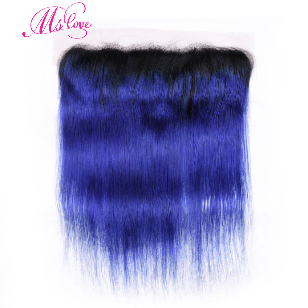 Ms Love Ombre Tb/Blue Brazilian Hair Lace Frontal Pre Plucked Straight Remy Human Hair L ...