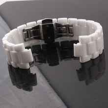 Lug end Watchband Convex mouth ceramic watch band white Black 19mm 22mm watch strap Butterfly Buckle