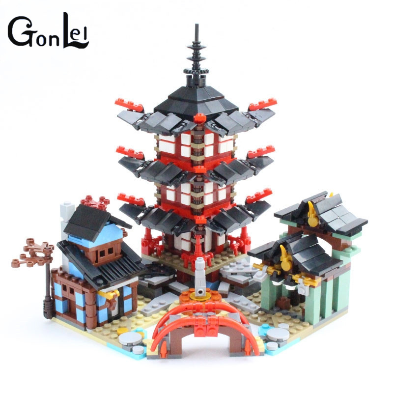 (GonLeI) 737 pcs Ninja Temple of Airjitzu Smaller Version Bozhi Blocks Set Compatible with LXgo Toys for Kids Building Bricks mb barbell mb barbell 710мм 50мм