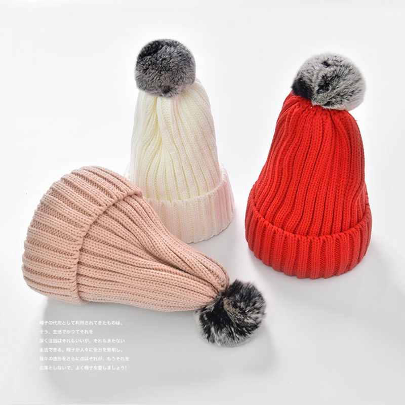 Solid Knitted Hat female bonnet femme   Beanie   Winter Cotton Warm Caps Thick Hat For Women Fur Pompom   Skullies     Beanies   Winter Hat