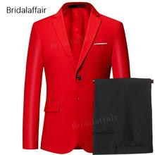 Wspaniała czerwona mężczyźni Prom suknia ślubna 2018 smoking pan młody formalnym garnitur męskie 2 sztuk zestaw (kurtka + spodnie) slim Fit męskie garnitur do pracy kostiumy tanie tanio Gwenhwyfar skinny Smart Casual qt533 Zipper fly REGULAR Poliester Mieszkanie Pojedyncze piersi Garnitury