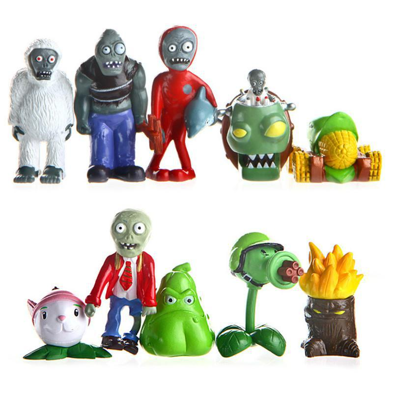 Hot Classic toys plants vs zombies game play2 Indoor car ornaments dolls 10pcs/set Free shipping