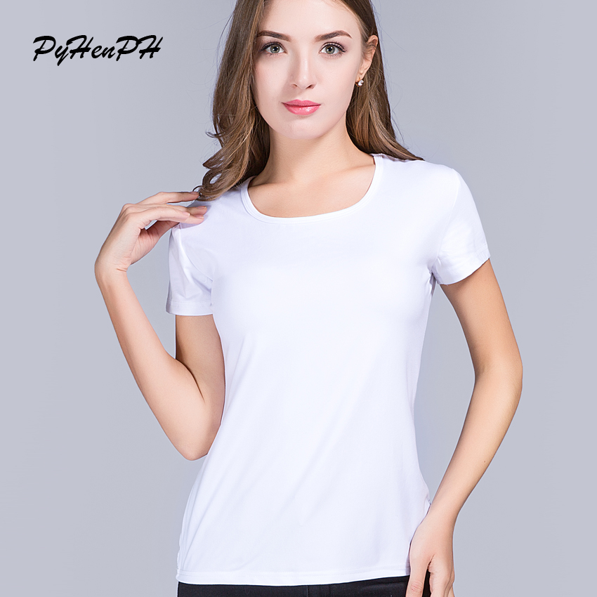deed4533e PyHenPH 2017 Novo Estilo do Verão Personalizado Impressão da camisa de T  das Mulheres seu Próprio Projeto Mulheres Em Branco T-shirt de Manga Curta  Casuais ...