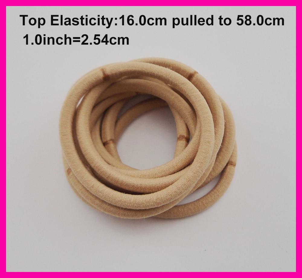 50PCS 5mm Top Elasticity Khaki Seamless Elastic Ponytail Holders rope hair bands,nylon elastic hair ties circle length 16.0cm