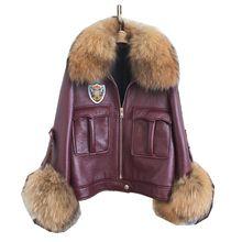 Genuine Sheepskin Leather Suede Moto Biker Coat Jacket Raccoon Fur Collar Cuff Autumn Women Slim Outerwear Coats Garment LF5083