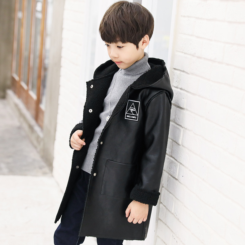 где купить 2017Autumn Winter PU Leather Jacket For Boys Windbreaker Boys Jacket Kids Raincoat Lambswool Trench Coat Children Outerwear 5-14 по лучшей цене