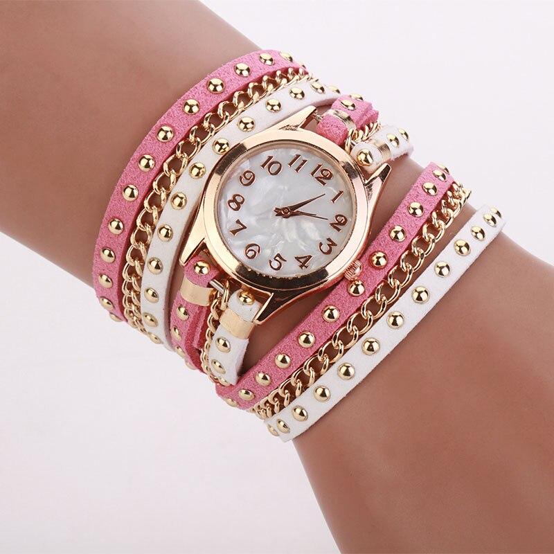 Mance ladies brand designer watches luxury watch women 2016 Crystal Rivet Bracelet Braided Winding Wrap Quartz Watches Quality mance ladies brand designer watches