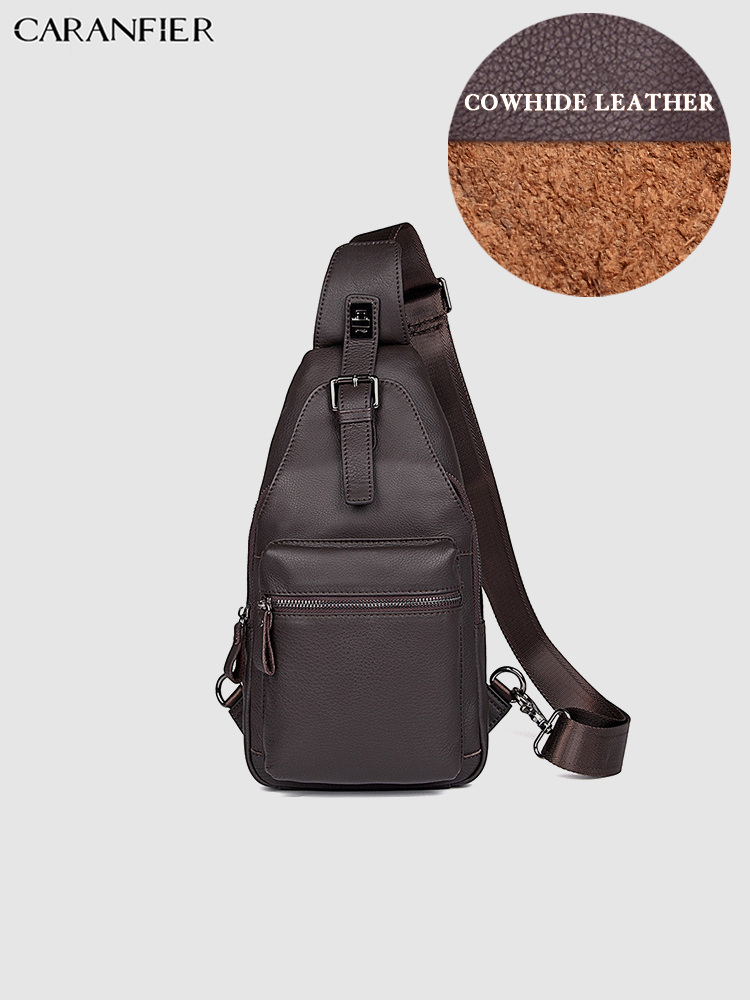 CARANFIER Mens Chest Bags Crossbody Bag Vintage Genuine Cowhide Leather Travel Waist Bags High Quality Casual Shoulder Pack