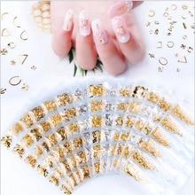 1pcs Mixed styles gold bar metal 3d nail art decorations  Studs Hollow DIY Nail Art