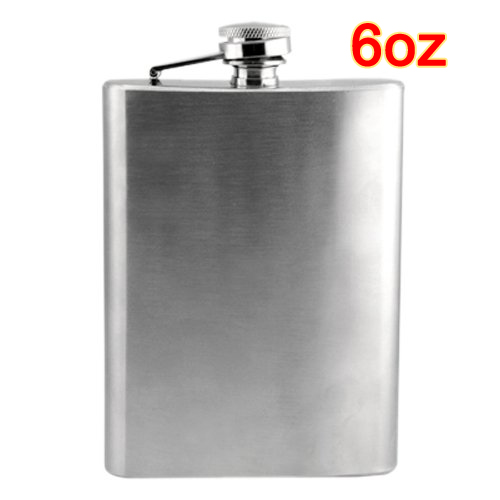 GSFY-Stainless Steel 6oz Hip Flask Screw Cap for Whisky Alcohol
