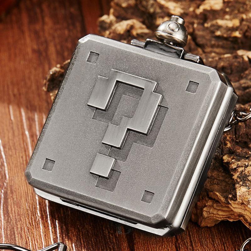 Unique Vintage Square Silver 3D Sculpture Quartz Pocket Watch Men Women Necklace Chain Retro Steampunk Pocket Watches Clock Men