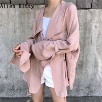 Alien Kitty Long Sleeve Cardigan Blouse Women Casual Full Sleeve Shirts Women 2018 Summer Autumn Harajuku Loose Tops Feminina