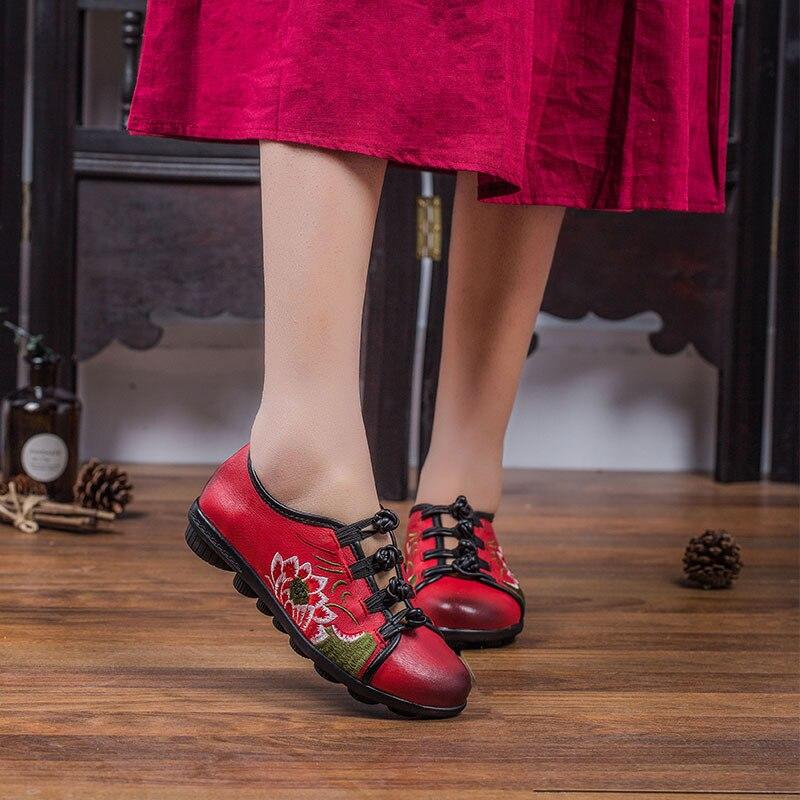 Pour Tendance Décontracté Chaussures Mocassins Plates 2019 Plats Offre Cuir Femmes Date Élégant Printemps De rouge Brodé Vachette Spéciale En Noir Confortable WTvaqvn7
