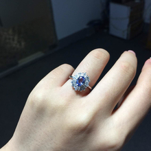 Anillo de Bodas de Compromiso de la vendimia para mujer genuino anillo de tanzanite anillo bule real 925 joyería de Plata Esterlina Sólida para dama