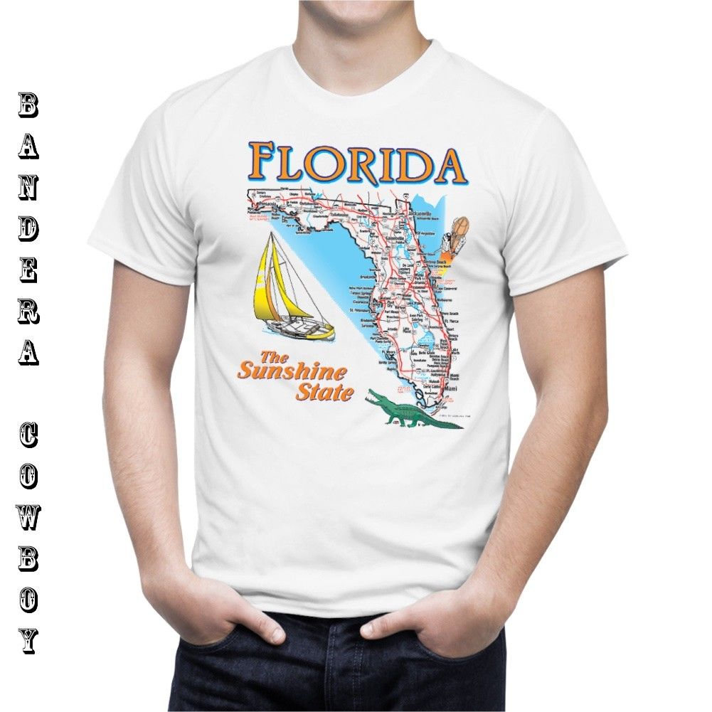 FLORIDA The Sunshine State Road Map Souvenir T Shirt