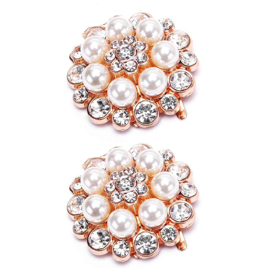 2Pcs/Set Shoe Clip Women Lady Shoes Decoration DIY High Heel Sandals Charms Luxury Pearl Rhinestone Fashion Unique Floral