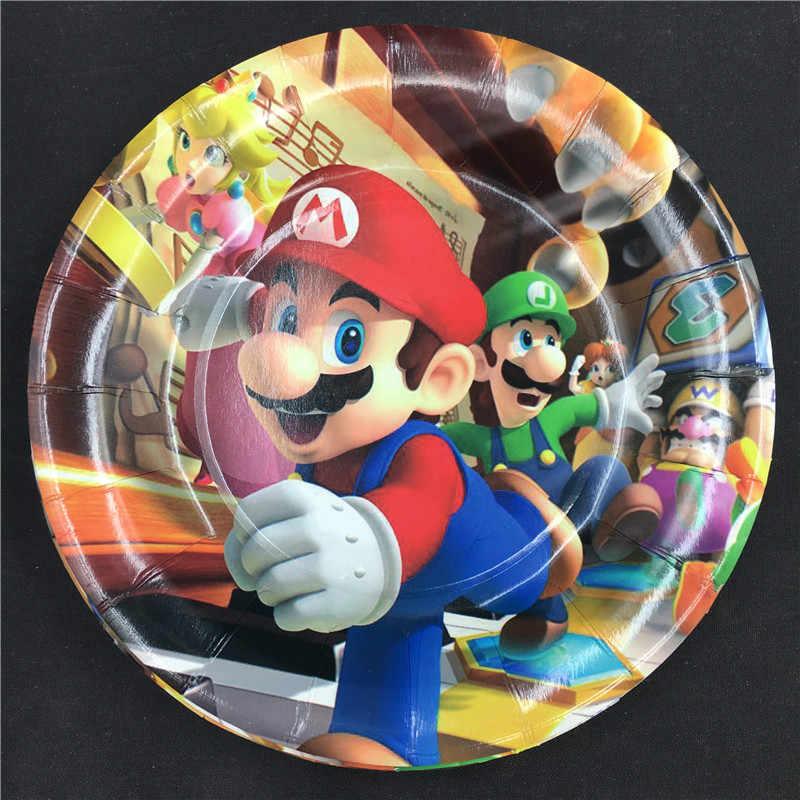 10 stks/partij Super Mario thema wegwerp borden Super Mario Run thema verjaardagsfeestje decoraties Super Mario Bros papieren borden