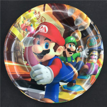 10pcs/lot Super Mario theme disposable plates Run birthday party decorations Bros paper