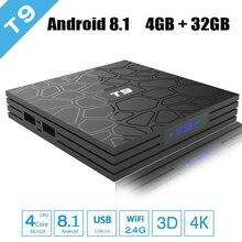 New T9 Android 8.1 TV Box RK3328 4GB RAM 32GB ROM Quad Core USB 3.0 4K WIFI Smart TV Google Player Store Netflix Youtube rikomagic us mk902 quad core android 4 2 google tv player w 2gb ram 16gb rom mk750 air mouse