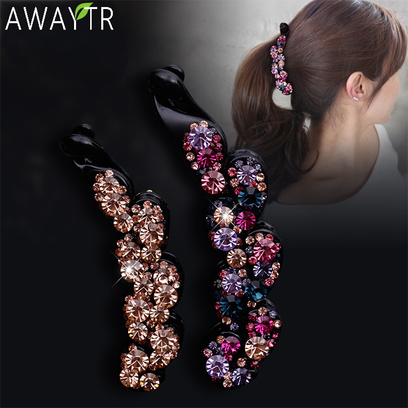 Ladies Bow Hair Claw Clip Banana Hair Clip Flower Multicolor Crystal Women Hairbands Fashion Women Hairpin Hair Accsessories