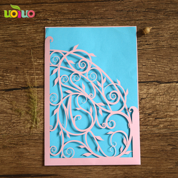 Lastest pink and blue free logo OEM fancy lace wedding invitation cards birthday cards made in china